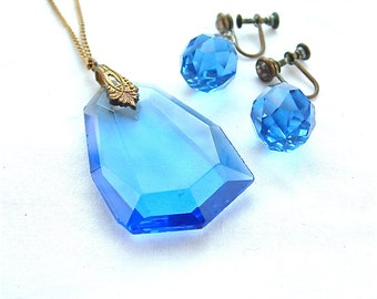Art Deco Vintage Sapphire Blue Glass Jewelry Set Pendant Necklace Glass Earrings Cobalt Antique Jewelry