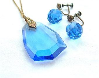 Art Deco Vintage Sapphire Blue Glass Jewelry Set Pendant Necklace Glass Earrings Cobalt Antique Jewelry