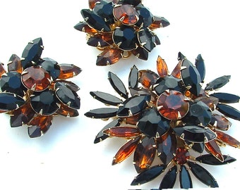 Signed Judy Lee Huge Starburst Autumn Fall Rhinestone Jewelry Set Women Gifts