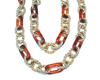 Designer Dauplaise Vintage Chunky Chain Link Rope Tortoise Shell Long Necklace