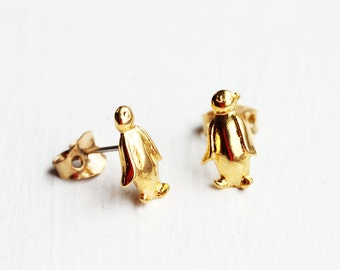 Penguin Stud Earrings, Gold Penguin Studs, Cute Stud Earrings, Animal Stud Earrings, Bird Stud Earrings, Small Gold Studs