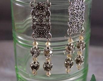 "Vintage Inspired Crystal Earrings  ""Sparkling Elegance"""