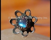 Lotus Flower Blossom Nose Stud - Sterling Silver and Rainbow Moonstone - CUSTOMIZE