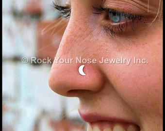 Gold Crescent Moon Nose Stud - Yellow Gold with Sterling Silver Stem - CUSTOMIZE