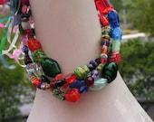 Fiesta Multicolor multi strand Necklace Lots of Heart