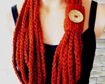 Crochet Circle  Scarf  Womens Scarf  Pumpkin Scarf      Necklace Scarf    Chain Scarf  Spring Summer  Gift İdea  Fashion accessories