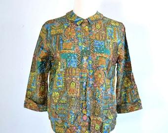 60s Stained Glass Print MOD Blouse - Peter Pan Collar Top - MOD shirt - medium