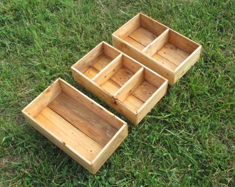 Drawer Organizers - Set of 3 Reclaimed Wood Compartment Boxes for Office, Craft Room, or Display