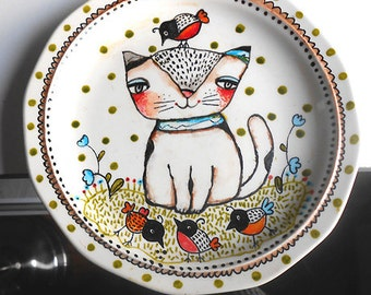 Original hand painted Kitty with birds decorative porcelain plate  OOAK  by miliaart studio