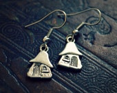 Fairy Tale Earrings in Silver - Tiny Gnome House Charms - Fantasy Cottage Dangles