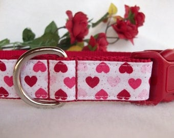 Rows of Valentine Hearts Dog Collar, In Size L Only