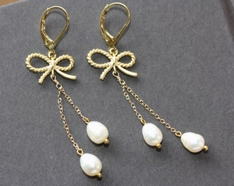 White Pearls Gold Twisted Bow Earrings, Easter Spring Trend, Bridal Shop, for Quinceanera, Weddings, for Flower Girl, Birthday Gift for Wife
