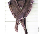 Fichu Shawl Shawlette, Outlander Inspired, Hand Knit Merino Wool Cashmere, Brown Taupe Mauve Multi Color
