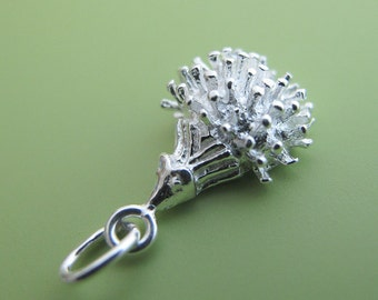 3 pcs 12mm Sterling Silver porcupine pendant (BSS160)