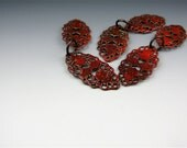 Enameled Oval Filigree / Orient Red Enamel / Made to order