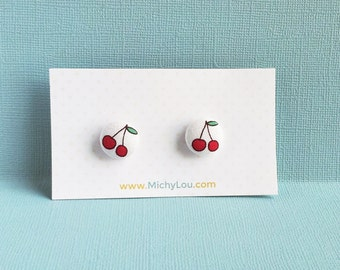 cherry earrings - red cherry jewelry - cute earrings - fabric covered button earrings