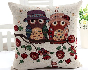 Hoot Owl Collection (C), Love Owl Couples In Rose Garden - Embroidery Fabric, Square Panel Home Decor Fabric (1 Panel, 21.5x21.5 Inches)