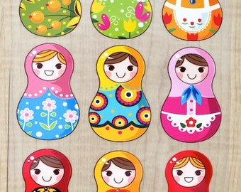 Offset Printing Iron On Transfer - Lovely Colorful Nordic Floral Check Matryoshka Russian Dolls Nesting Dolls (1 Sheet)