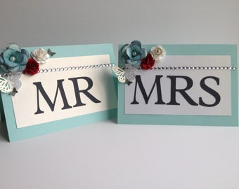 Mr and Mrs Table Sign, Wedding Decoration - Light Blue, Gray and Red