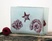 Fused glass Napkin Holder - Sea shell  white landscape glass art - Hostess Gift Home Decor