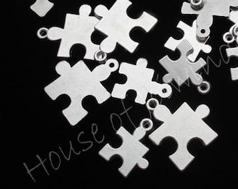10 Pieces Silvertone Metal Puzzle Pieces Autism Awareness Charms