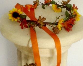 Bright flower crown fall Wedding sunflower hair wreath accessories Bridal party halo orange brown end of sumer  Music Festivals fall flower