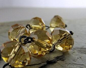 Gold Crystal Earrings, Topaz Crystal,