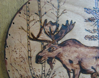 Wood Burnt Image of a Moose in the woods for basket base or other crafts