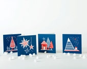 Set of 4 - festive cards