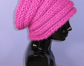 Instant Digital File pdf download Knitting pattern-Super Chunky Rib Band Beehive Slouch Hat pdf download knitting pattern