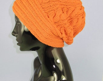 Instant Digital File pdf download Knitting pattern-Rib Band Cable Slouch Hat  pdf download knitting pattern