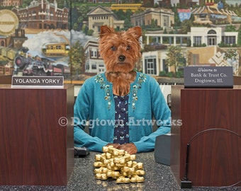 Good as Gold, large original photograph of Yorkshire Terrier Yorkie dog dressed as bank teller
