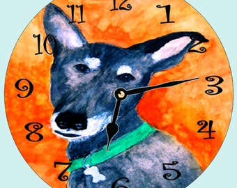 Cody Rescued Dog wall clock from my art - available in 2 sizes