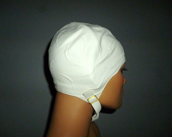 Vintage 1960's or 70's - Jantzen - White - Novelty Print Embossed Swimmers - Rubber  - Dive - Swim - Adult - Cap - Hat -NOS - with the bag