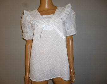 """Vintage 60's  or 70's - Crisp White - Embroidered -  Lace - Nautical Sailor Collar - Peasant -  Pirate - Blouse - Bust 42"""""""