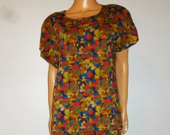 "Vintage 80's - Geoagiou - Cotton Jersey - Floral - Blouse - New Old Stock - Marked size 14 - 44"" bust"