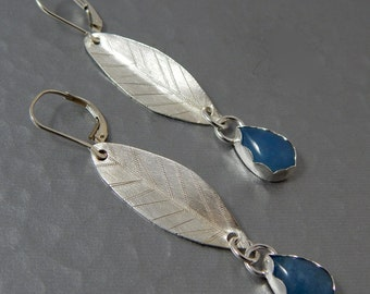 Sterling Silver Leaf Earrings with Aquamarine Cabochons