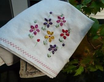 Ribbon embroidery tea towel