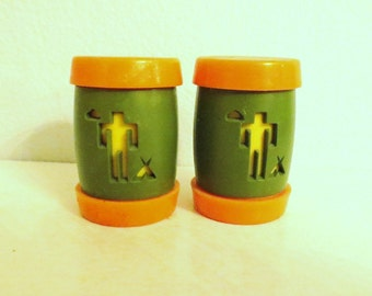 St. Labre Indian School  salt and pepper shakers vintage cabin amping decor