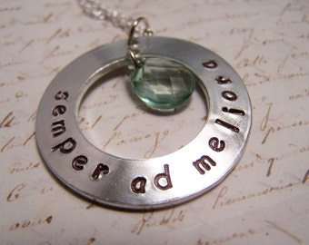 Latin Necklace. Semper ad Meliora.Always Toward Better Things. Positive Thinking. Onward. Move Forward. Press On.