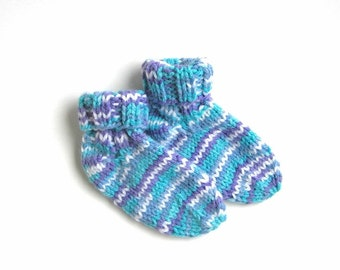 CLEARANCE SALE! Hand Knit Baby Socks Size 3 to 12 Months, Boy or Girl, Warm Winter Kids Socks, Baby Clothing, Baby Shower Gift, Blue Purple