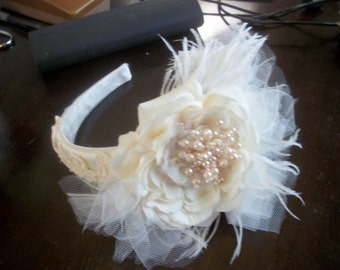 Bridal headpiece  pearl feathered lace