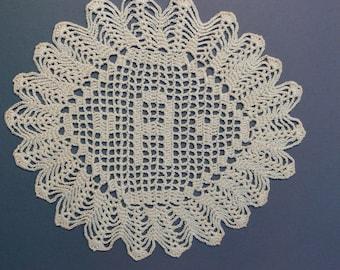 "Custom Handmade Crocheted Initial Doily  ""A"""
