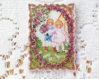 To My Valentine--Sweet Girl and Boy with Pink Roses Vintage Valentine Image Pin / Brooch with Glitter and Gold Leaf Pen / Pink / Green