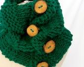 Clover Green Button Cowl
