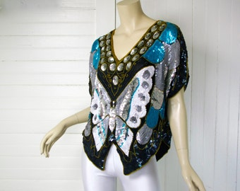 Disco Sequin Butterfly Blouse- Teal, Gray, White- 1980's Studio 54 Silk Cropped Top- Cap Sleeves- Evening / Formal