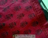 Maroon Bagh Print Fabric, Handloom Saree Fabric, Hand Block Printed Fabric, Indian Sari Fabric, Block Print Fabric, Cotton Saree Sari