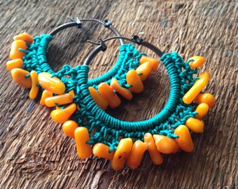 Funky Bohemian Teal Hoops with Orange Bamboo Coral