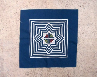 Hmong Embroidered Reverse Applique, Hand Stitched Geometric Star Pattern Blue White Folk Art Decor