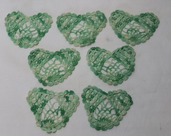 Set of 7 Vintage Green Crocheted Heart-Shaped Coasters
